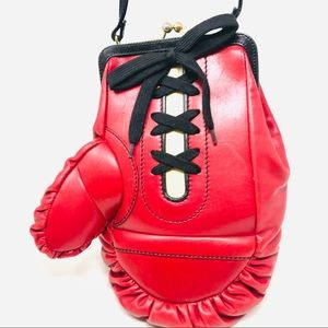 Moschino Red Leather Boxing Glove Bag Purse